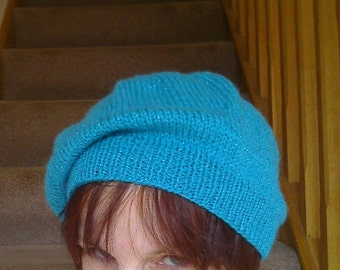 Sparkle beret or tam - turquoise