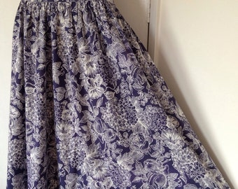 Vintage 1980s LAURA ASHLEY Navy Floral English Garden Print High Waisted Skirt 80s Retro Made in England