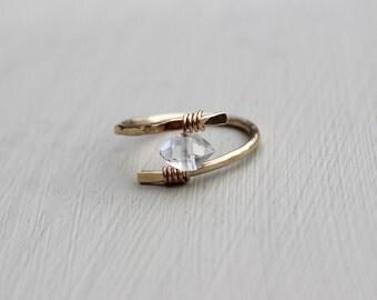 Herkimer Diamond Ring, Gold Ring, Gold Rings, Herkimer diamond rings, Raw diamond ring, Crystal ring