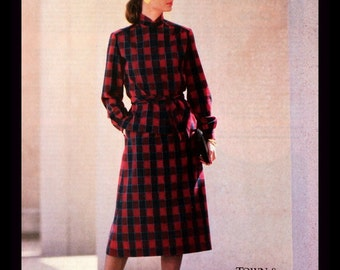 1983 Pendleton Ad - Red & Black Bufflao Plaid - Wall Art - Home Decor - Vanity - Bath - Wool - Retro Vintage Fashion Advertising