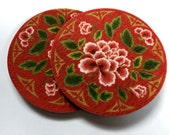 Red flowers - Absorbent Drink Coasters Set - Free Shipping - Pretty red flowered drink coasters