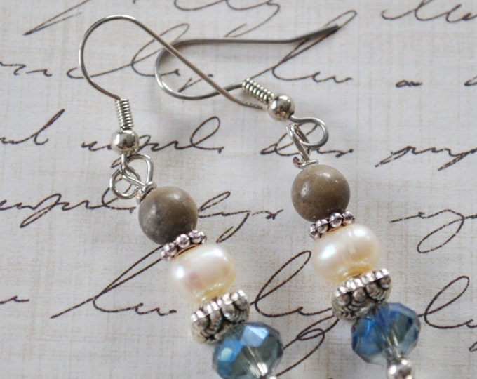 Lake Michigan Petoskey stone earrings with blue crystals, silver tone beads and freshwater pearls, Up North
