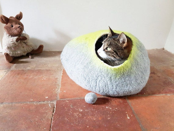 Cat Bed Cat Cave Cat House cat nap cocoon medium in Grey and Lime cat lover gift