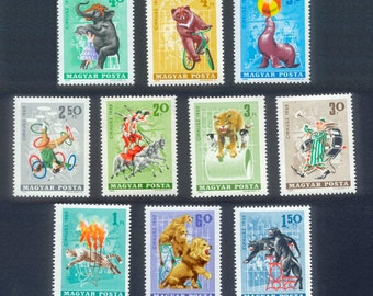 Colourful Circus Postage Stamps from Hungary - 1965 - Collage, ATC, Mixed Media