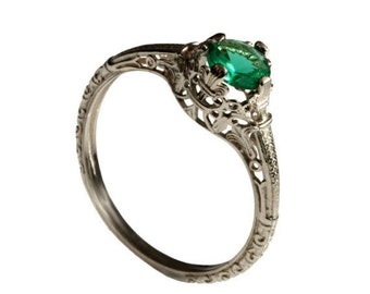 14K Vintage solitaire Emerald Engagement ring 18k white gold natural Emerald alternative engagement ring, promise ring, May birthstone ring