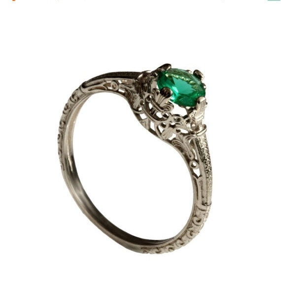 14k vintage solitaire emerald engagement ring 18k white gold