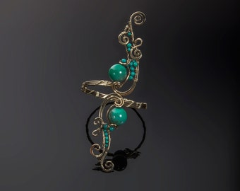 Turquoise and brass classic Lorarty handmade bracelet