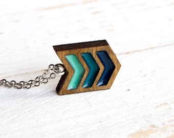 Ocean Foam Teeny tiny tri-chevron wood and resin necklace in Turquoise and blue