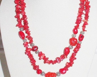 Signed Red Coral Necklace - Multi Strand 44 Inches - S2355