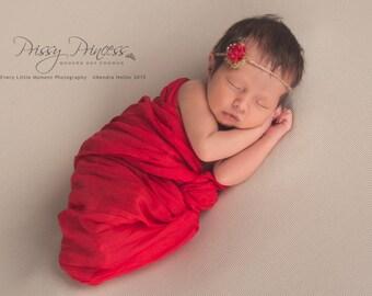 Flower Tieback & Wrap, Red Tieback, Newborn Tieback, Photo Prop, Tieback, Hair Accessory, Baby Headband, Tess Tieback, Newborn Headband, Red