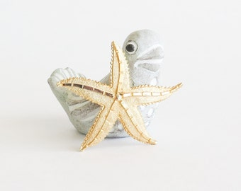Golden Starfish Brooch Pin