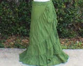 Olive Green long tiered crinkle wrap skirt with crochet waist