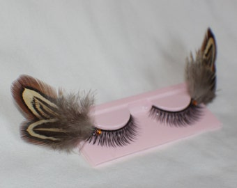 Brown, cream and black feather lashes with amber jewels