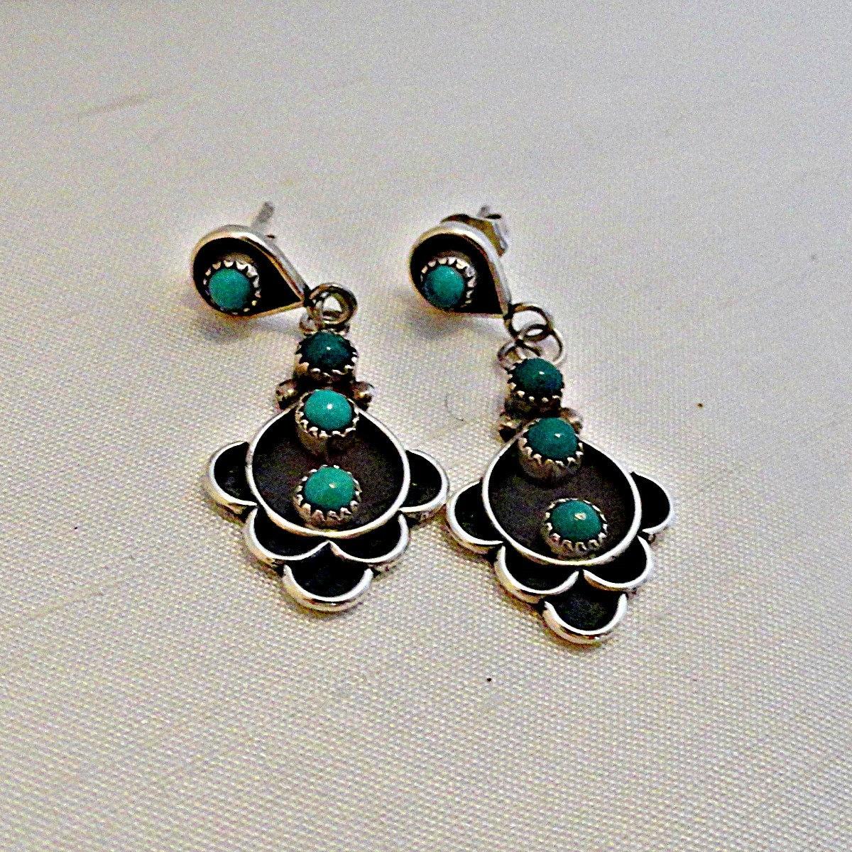 Zuni Earrings: Native American Earrings:Zuni Earrings Turquoise Sterling