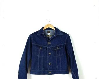 Vintage Lee Indigo Blue Denim Jean Jacket from 1980's*