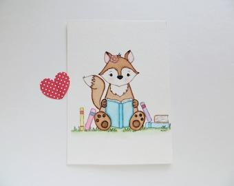 Little Reader, nursery art, nursery painting, clever fox, original painting, children's wall decor, nursery fox, little girl art