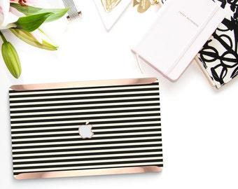 "Black Stripes with Rose Gold Detailing Hybrid Hard Case for Apple Mac Air & Mac Pro Retina, Macbook 12"" - Platinum Edition"