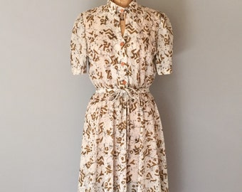 hieroglyph marbled dress | 1940s inspired belted day dress