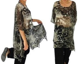HO200GBT9 tunic plus size blouse chiffon Gr. 42-56 black/taupe