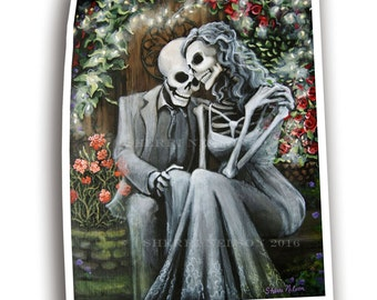 Day of the Dead Romantic Art Skeleton Couple Print Wedding Gift Hipster Anniversary bones nelson. Love Mexican Folk Art Tattoo Secret Garden