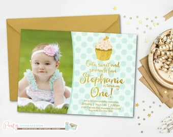 Cupcake Invitation, Cupcake Birthday Invitation, Mint and Gold Invitation, Mint and Gold Birthday Invitation, Cupcake Birthday Party