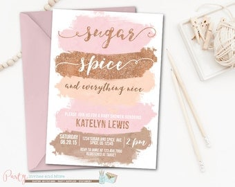 sugar and spice | etsy, Baby shower invitations