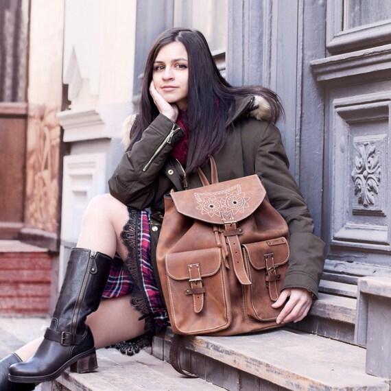 Leather Emroidred Backpack,Full Grain leather Back Pack,Owl Eboidred Leather Backpack,Travel Bag,Overnight Bag, School Bag