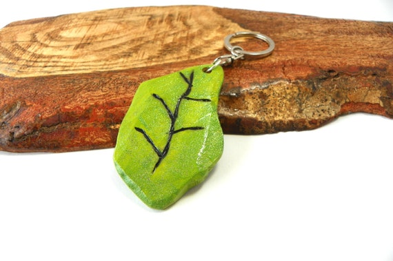 Wooden Leaf Key Chain from Feath and Kee
