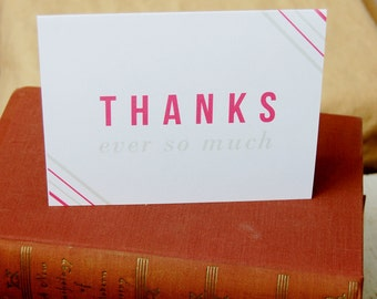 Thank You Card / set of two - envelopes included/ greeting card, stationery, stripes, elegant, simple