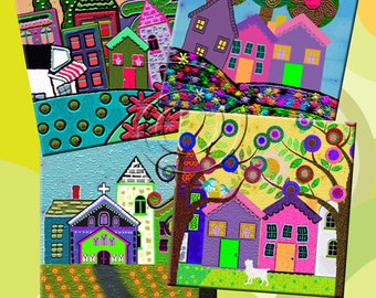 FUNKY HOUSES -  Printable Digital Collage Sheet 12 X 4 inch squares for Coasters, Greeting Cards, Gift Tags.  Instant Download #215.