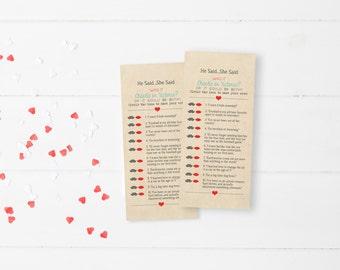 He Said She Said Trivia Game #8 #13 DEPOSIT - Printable, Custom - DIY Wedding - Rustic, Vintage, Mustache, Lips, Bridal Shower, Funny