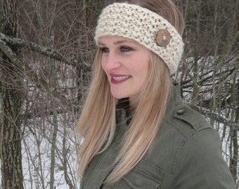 Women's Thick and Warm Cream Winter Knitted Headband with Wooden Button