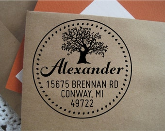 Custom Address Stamp, Round Return Address Stamp, Wedding Rubber Stamp, Wooden Handled, Conway