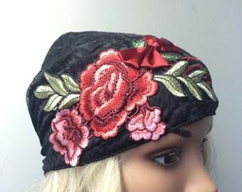 Tichel , Black Head Scarf , Head Warp , Snood , Hair Covering , Mitpacaht Tichel , Chemo Hat , Headcovering,  Floral Headwear