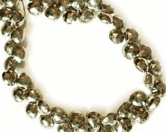 Pyrite faceted briolettes.  Approx. 6.5x6.5mm - 7x7mm.   Select a quantity.