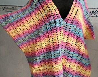 Crocheted Sherbet kaftan top - free worldwide shipping