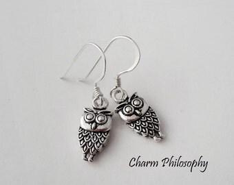 Owl Earrings - 925 Sterling Silver - Dangle Owl Charm Earrings - Tiny Shepherds Hook Earrings - Kids Earrings