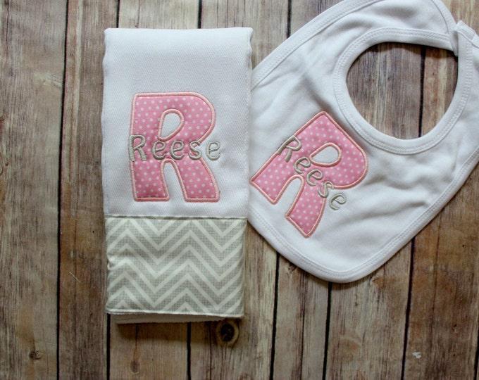 Monogrammed Baby Girl Burp Cloth Bib Set, Personalized Girl Burp Cloth Bib Baby Gift, Baby Shower or New Baby Monogrammed Gift, Baby Girl