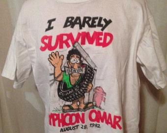 Vintage t shirt I Survived Typhoon Omar 1992 Vintage Shirt 90's