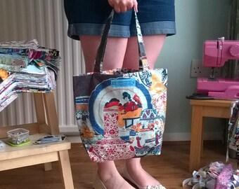 Handmade Fabric Zip up Shopper Bag / Handbag / Carrier for Everyday Use