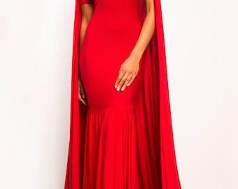 ANGELINA  - Long Cape Dress Gown - Train Prom Evening Red Carpet Celebrity - Tom Ford Michael Kors Prom Oscars Wedding Designer