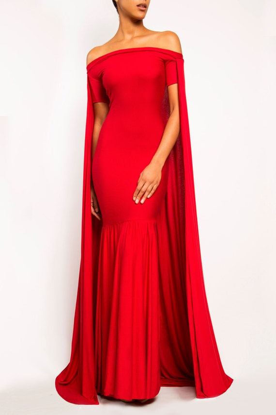 Angelina Long Cape Dress Gown Train Prom Evening Red