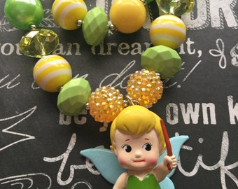 Tinkerbell Inspired Chunky Beaded Necklace and Bracelet Set