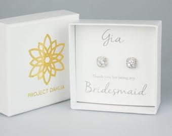 Bridesmaid Gift, Bridesmaid Earrings, Bridesmaid Jewelry, Bridal Earrings, White Gold Earrings, White Gold Studs, Everyday Earrings