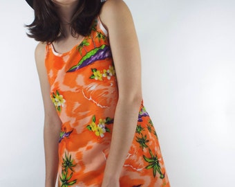 Vintage 90s Orange Tropical Print Mini Sundress