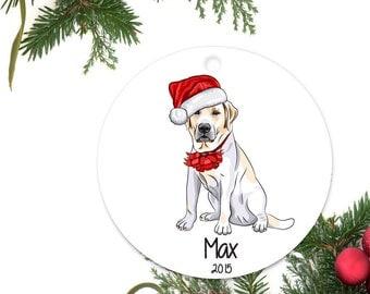 Yellow Lab Ornament, Personalized Christmas Ornament, Labrador Retriever Gift, Custom Dog Ornament, Ceramic Ornament, Pet Ornament