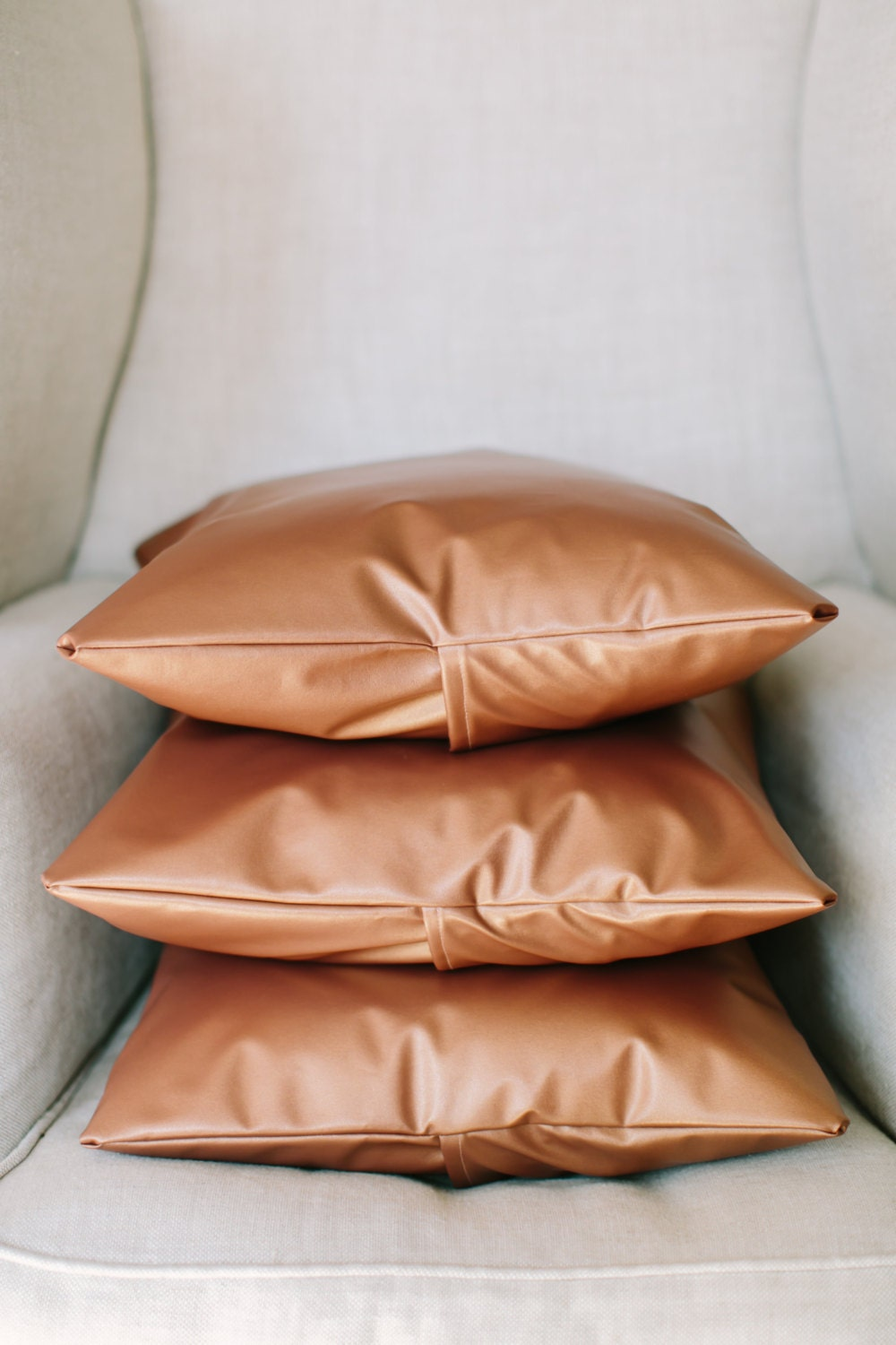 Accent Throw Pillow 18x18 Metallic Copper Faux Leather