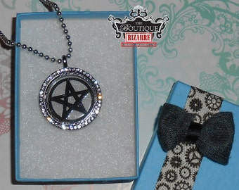 Wiccan Pentagram Crystal Fillable Locket Necklace, Pentagram Star Necklace for Witches and Wicca practicers, Occult, Horror fans, spiritual