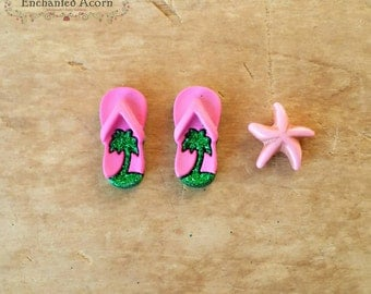 Palm Tree Flip Flops & Miniature Starfish Set for Beach Fairy Garden -  Beach Miniature Garden, Dollhouse Accessories, Miniature Sandals