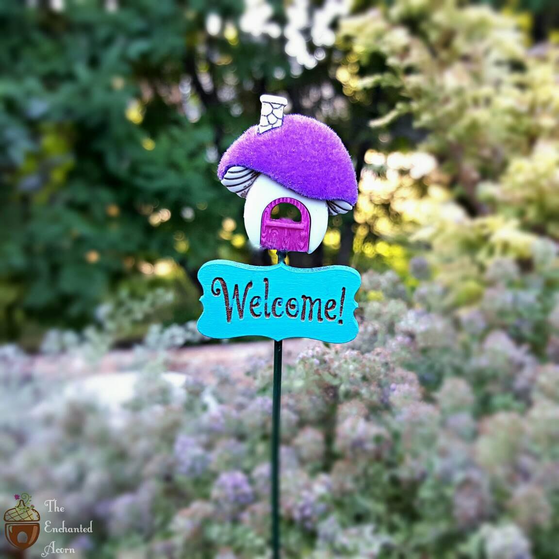Gnome Garden: Fairy Garden Welcome Sign Miniature Mushroom House Fairy